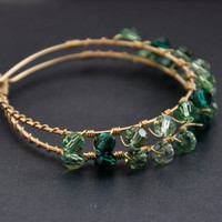 Green Crystal Hoops, Emerald Mint Peridot, Gold Infinity Hoop