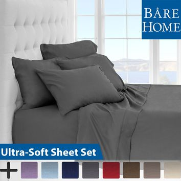 Premium 1800 Ultra-Soft Microfiber Collection Sheet Set - Double Brushed - Hypoallergenic - Wrinkle Resistant - Deep Pocket