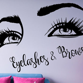 Eyelashes & Brows Quote Wall Decal, Custom Text Salon Decal, Girls Eyes Wall Decor, Beauty Salon Decoration, Make Up Wall Decor Art,  nm140