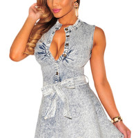 Denim Belted Skater Dress