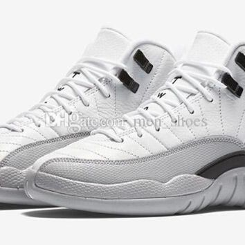 Air Jordan 12 GS Barons Men Basketball Shoes 12s White Black Wolf Grey Men And Women 12s Sports Sneakers With Box