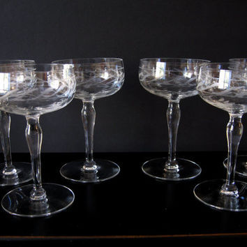 Vintage Etched Crystal Small Wine Glasses Flower and Vine Mid-Century Stemware Set of Six