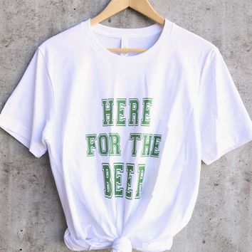 distracted - here for - saint patrick's day ringspun cotton tshirt - white/green
