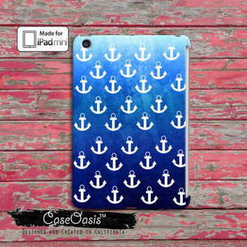 Anchors Blue Sailor Pattern Blue Ombre Cute Tumblr Ocean Beach Custom iPad Mini and iPad Mini Retina Case Cover
