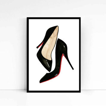 "Watercolor Fashion Illustration ""Louboutins"" Giclee Art Print Home Decor Wall Art Shoes"