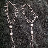 Sexy faux pearl & translucent glass bead foot jewelry perfect for beach wedding or just as barefoot sandals. Gypsy, boho style body jewelry.