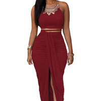 Red Halter Top and Maxi Skirt
