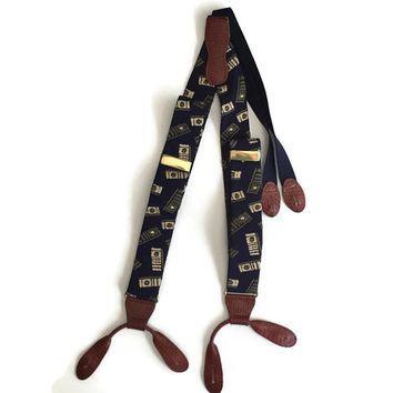 Button Suspenders Blue with Faux Alligator Trim and Brass Adjusters by Martin Dingman, Adjustable Y Back Suspenders, Button Braces