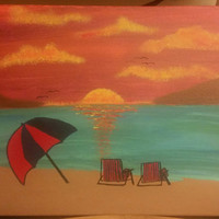 Hand painted, wood framed canvas - Sunset at the beach