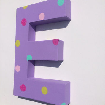 purple with polka dots handpainted letter or & symbol, wall letters, kids name letters, baby nursery decor, custom name decor, girl bedroom