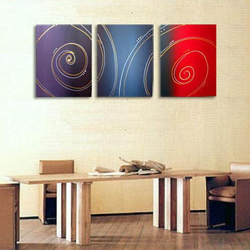 """three panel Wall art triptych """"Color Spiral""""  3 panel canvas contemporary modern color painting Abstract art  wall art"""