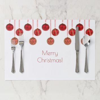 Merry Christmas Decor Red Baubles Pattern Elegant Placemat