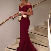 Hot Elegant Mermaid Bridesmaid Dresses Cheap 2016 Off The Shoulder Lace Appliques  Women Formal Occasion Dress For Wedding