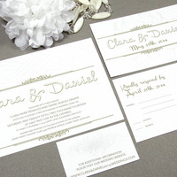 Classic Calligraphy Swirl Wedding Invitation Set by RunkPock Designs / Modern Script Formal Swirl Suite shown in Champagne and Brown