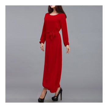 Malaysian Muslim Women Garments Dress Solid Color  red