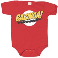 The Big Bang Theory Bazinga! Red Baby Infant Romper Onesuit - The Big Bang Theory -   TV Store Online