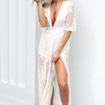 Call For Love Ivory Lace Maxi Romper
