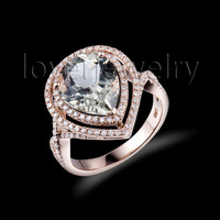 solid 14kt rose gold diamond green amethyst ring,pear green amethyst engagement wedding ring 10x12mm for sale sr0007