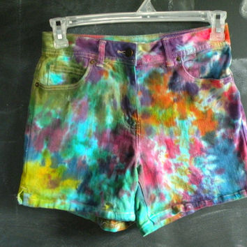 READY TO SHIP! Rainbow tie dye shorts - Size 8