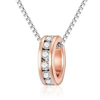 Rose Gold Crystal Ring Necklace