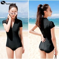 Sunyokini 2017 Plus Size One Piece Swimsuit Zipper One-Piece Sexy Swimwear Black Deep V Bathing Suit Female Beachwear Swim Suits