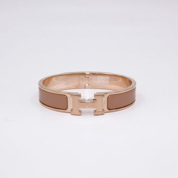 Authentic New Hermes Clic Clac H Narrow 0.5inch Wide Pm PM Rose Make Up Bracelet