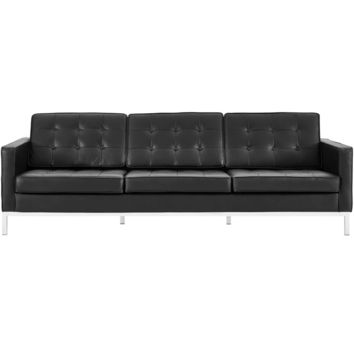 Loft Mid-Century Modern Genuine Leather Sofa