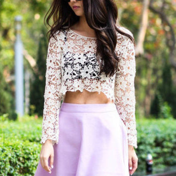 Crochet Lace Cropped Top | Goodnight Macaroon | Women's Clothing & Jewelry