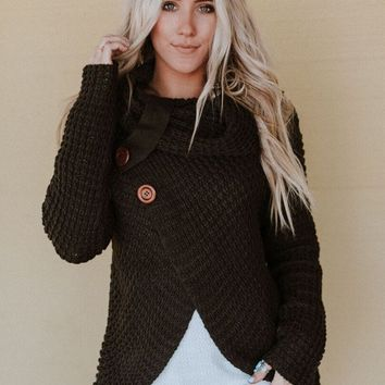 Presley Waffle Knit Button Sweater - Olive
