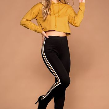 Indy Mustard Stripe High Waisted Leggings