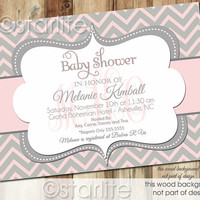 Chevron Monogram - Pink and Gray Grey - Baby Shower Invitation - Baby Girl - PRINTABLE Invitation Design