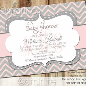 Chevron Monogram   Pink And Gray Grey   Baby Shower Invitation