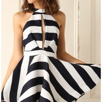 Party dresses > Striped Flirty Frill Dress