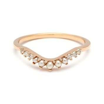 Anna Sheffield 'Petit Tiara Curve' Diamond & Seed Pearl Ring | Nordstrom