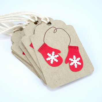 Christmas gift tags, red mittens, set of 8, rustic Christmas tags, kraft holiday tags, holiday packaging, hang tags