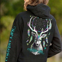 Country Life Feather Deer Dream Black Pullover Shirt Hoodie
