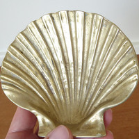 Large solid brass scallop shell trinket dish