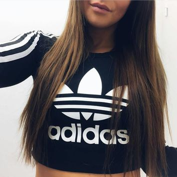 Fashion Online Adidas Paris Long-sleeved Crop T-shirt