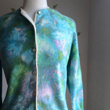1960's Angora + Wool Cardigan / Watercolor Floral / Blue Pink Green / Knit / Sweater / 60s Vintage