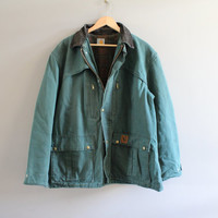 Carhartt Canvas Denim Parka Jacket Spruce Green Quilted Jacket Denim Coat Wool Insolated Oversize Unisex Vintage 90s Size L #125A