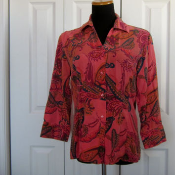 Vintage Colorful Tianello Blouse Coral and Teal Print Dyed Fabric Made in USA Womens S Small Tencel and Rayon