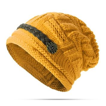 Women Knit Crochet Buttons Beanie Hat
