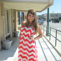 Red and White Chevron High-Low Dress