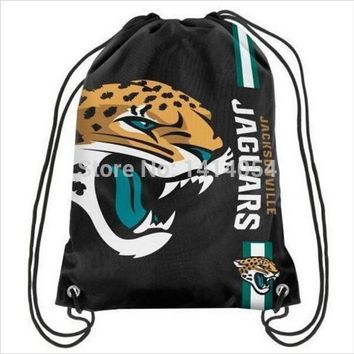 Jacksonville Jaguars  Drawstring Backpack 35x45CM NFL Digital Printing Polyester Custom Sports Backpack, free shipping