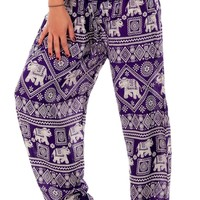 Purple Classic Elephant Harem Pants