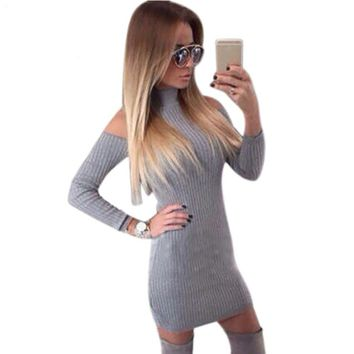 malianna Black Grey Off The Shoulder Sexy Rib Winter Dress Women Turtleneck Dresses Full Sleeve New Arrival Elegant Bodycon Sweater Dress