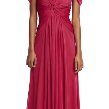 Adrianna Papell Cap Sleeve Stretch Tulle Gown - Rosewood Red