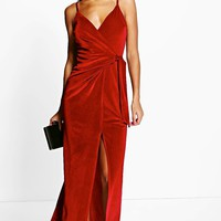 Niamh Velvet Wrap & Tie Detail Maxi Dress | Boohoo