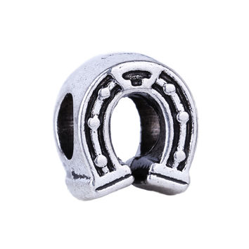 1piece European Big Hole Alloy Bead Fashion Silver Plated Horse Hoof Bead Fits Charm Pandora Bracelets Necklaces Pendants