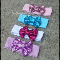 Baby bow headband, top knot, big Bow Headband, baby headband, sequin Bow Headband, Gold Bow Headband, top knot headband, floppy Bow